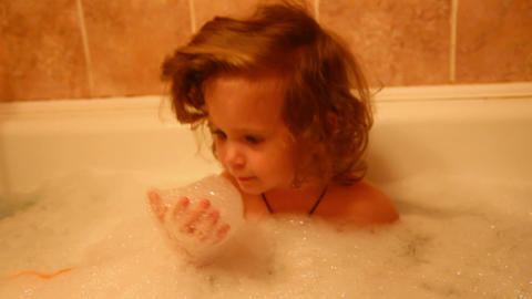 little girl bath Stock Video Footage