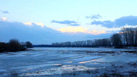 spring lake landscape with melting ice Stock Video Footage