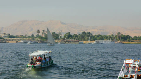 boats on Nile River in Luxor, Egypt Stock Video Footage