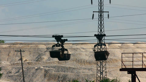 industrial cableway and moving trolleys with rock Stock Video Footage
