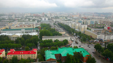 top view on the panorama of city - Ufa Russia Stock Video Footage