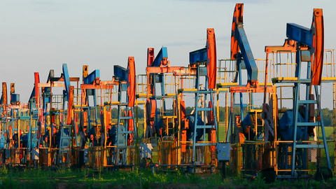 row of many working oil pumps - timelapse Stock Video Footage