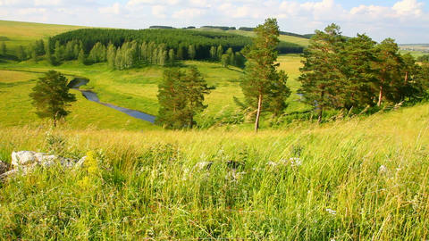 hills summer landscape in Russia Ural Stock Video Footage