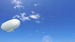 空を行く看板をイメージした白い飛行船ループ stock footage