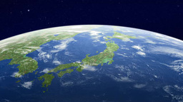 Earth watching Japan Islands from orbit Footage