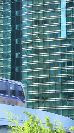 Shiodome buildings and the Yurikamome line Footage