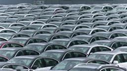 整然と並べられた輸出を待つ車 Footage