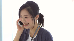 Businesswoman talking on mobile phone 영상물