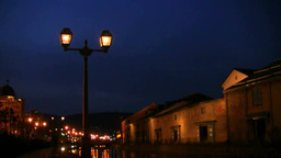 Otaru canal at night Footage