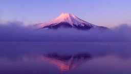 Mt. Fuji and Lake Yamanaka at sunrise Footage