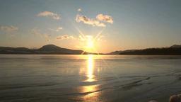 Frozen Lake Kussharo at Sunrise Footage