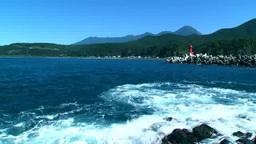 ウトロ港の灯台と知床連峰 Footage