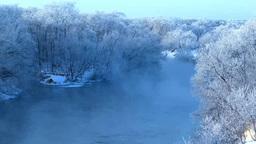 霧氷と摩周湖釧路川 Footage