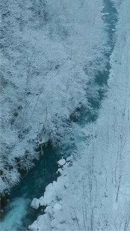 降雪の美瑛川 影片素材