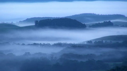 Hill in morning fog Footage