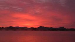 裏磐梯の桧原湖の朝焼け Footage