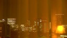 カーテン越しに見える東京の夜景 Stock Video Footage
