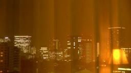 カーテン越しに見える東京の夜景 Footage