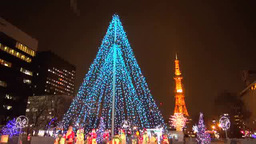 Sapporo white illumination Stock Video Footage