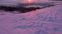 朝の美幌峠から雲海の屈斜路湖 Stock Video Footage