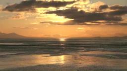 漁船と朝の国後島 Stock Video Footage