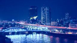 隅田川と首都高速の夜景 Stock Video Footage