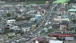 福島市街地と国道 Stock Video Footage