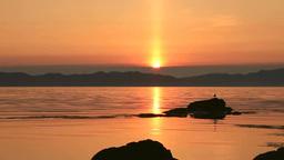 利尻島から礼文島に沈む夕陽 Stock Video Footage