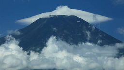Mount Fuji and lenticular clouds Stock Video Footage