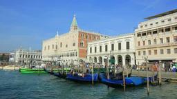 ジュデッカ運河とドゥカーレ宮殿と鐘楼と街並み... Stock Video Footage