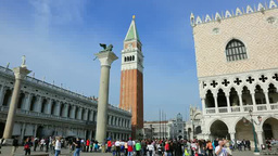 サン・マルコ広場のドゥカーレ宮殿と鐘楼 Footage