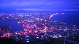 Night view of Hakodate Stock Video Footage
