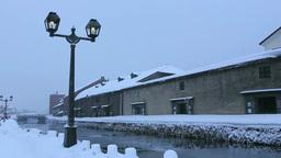 雪降る小樽運河 Stock Video Footage