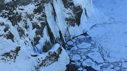 知床西海岸の凍る湯の華の滝 Stock Video Footage