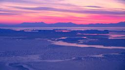 朝焼けの知床半島と流氷 Stock Video Footage