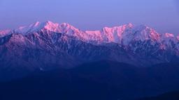 鷹狩山展望台から北アルプス朝焼け Footage