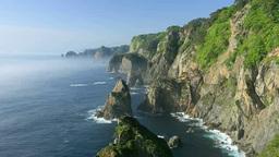 海霧の北山崎の海岸 Stock Video Footage