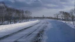 地吹雪の道 Stock Video Footage