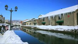 Otaru canal in winter Stock Video Footage