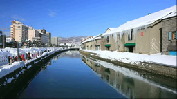 Otaru canal in winter Stock Video Footage