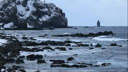 冬の積丹半島の 神威岬 Stock Video Footage