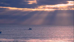 Fishing boat and glow of morning Footage