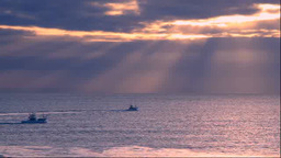 Fishing boat and glow of morning Stock Video Footage