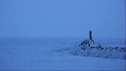 夜明の灯台と流氷 Footage