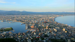 函館山から函館市の夕景 Stock Video Footage