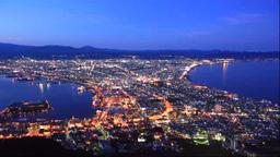函館山から函館市の夜景 Stock Video Footage