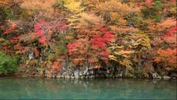 鳥海山の紅葉の法体の滝の渓谷 Stock Video Footage