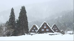 冬の白川郷の降雪と合掌造り Footage