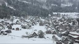 城山天守閣展望台から冬の白川郷の降雪 Footage