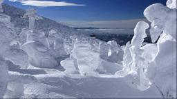 蔵王の樹氷と蔵王ロープウェイ山頂線 Stock Video Footage